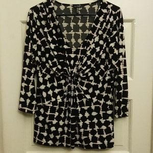 Daisy Fuentes black and white long sleeve top XL